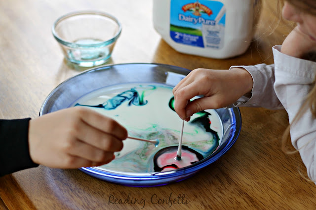 Make your afternoon snack more fun with this colorful milk science experiment