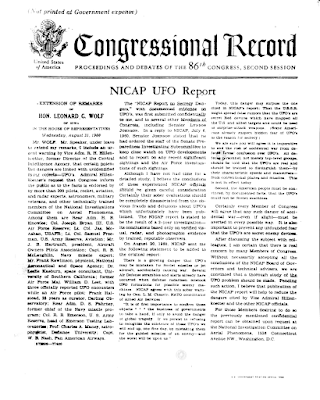 Congress, UFOs, NICAP and The CIA