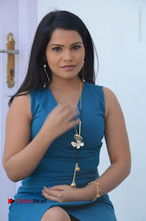 Telugu Actress Kulakarni Mamatha Stills in Blue Short Dress at Idea movie Creations Launch  0139.JPG