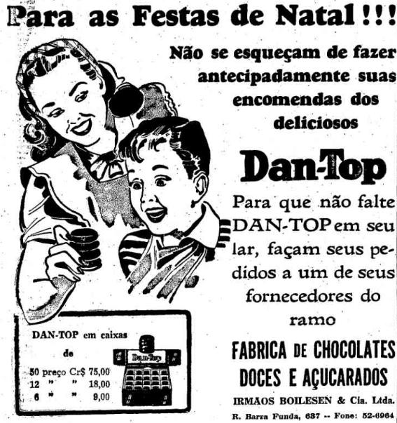 Propaganda antiga da Dantop para o Natal do final dos anos 40
