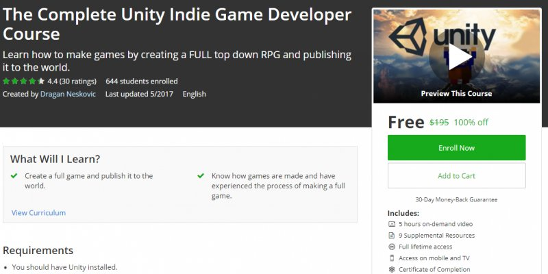 100% Off] The Complete Unity Indie Game Developer Course   Worth 195