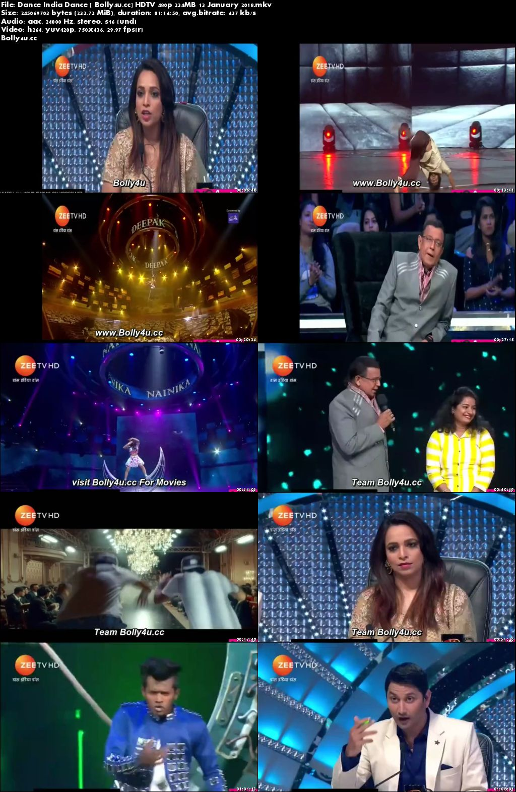 Dance India Dance HDTV 480p 200MB 13 January 2018 Download