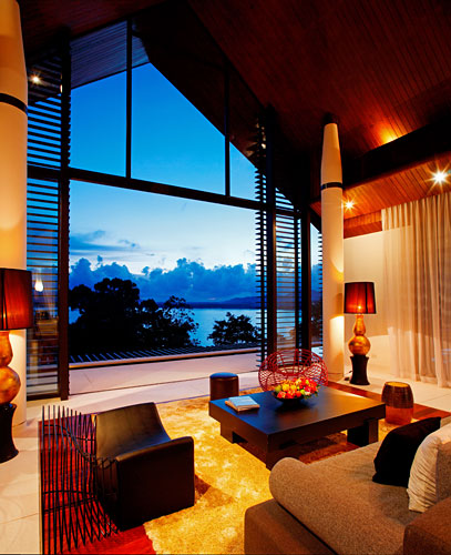 View through the window of living room in modern villa in Phuket