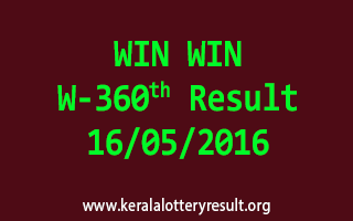 WIN WIN W 360 Lottery Result 16-5-2016
