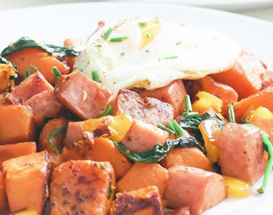 Sweet Potato and Kielbasa Skillet (Gluten-Free, Paleo, Whole 30)