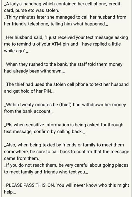 How robbers emptied woman's account with her husband's help