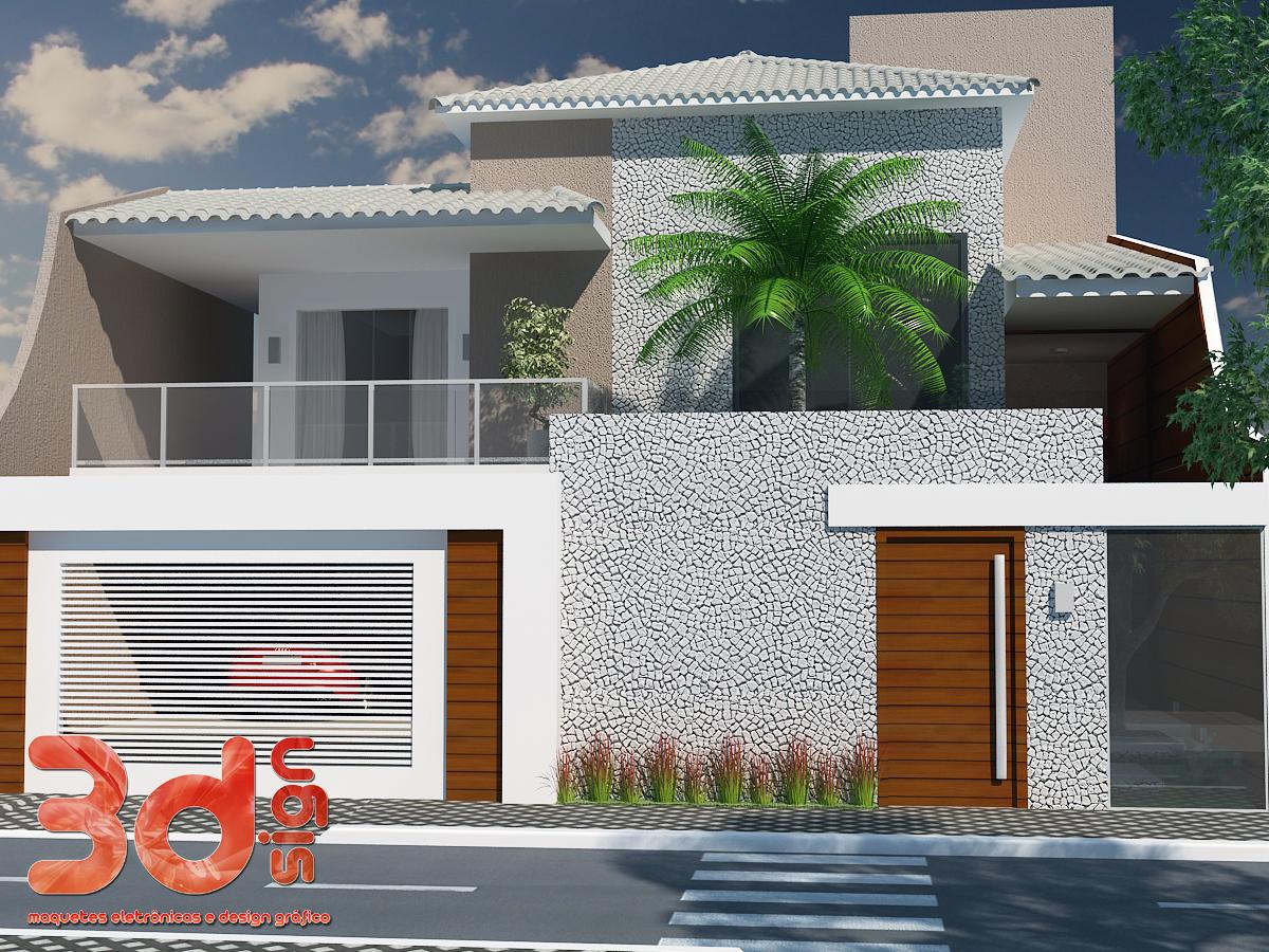 3dsign maquete eletr nica de casa for Fachadas de casas modernas 1 pavimento