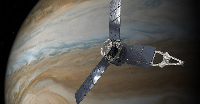This illustration depicts NASA's Juno spacecraft in orbit above Jupiter's Great Red Spot. Credits: NASA/JPL-Caltech