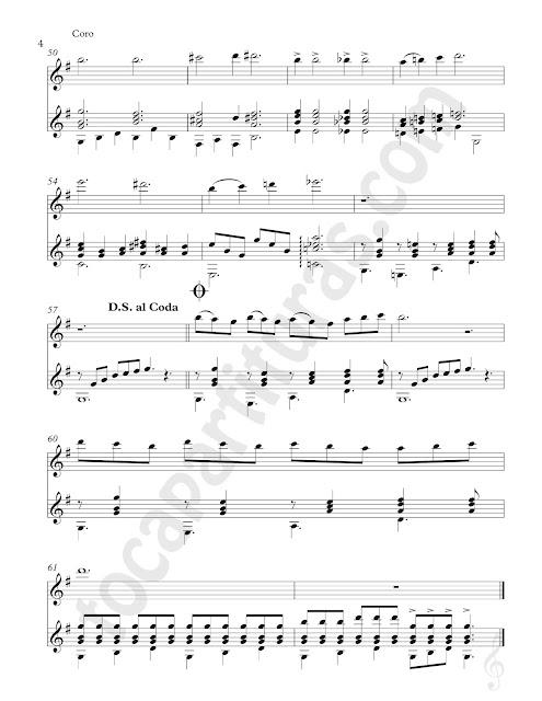 Hoja 3 Tranquilidad Campestre Partitura de Dúo Flauta e Instrumentos en Clave de Sol Afinados en Do (Violín, Oboe...) y Guitarra Clásica Sheet Music for Flute (Treble Clef Instruments in C) & Guitar Duet