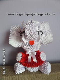 słoń, origami, 3d, modułowe, papier, jak zrobić słonia z origami ?