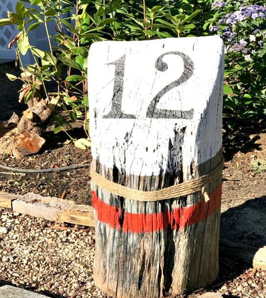 house number buoy stump