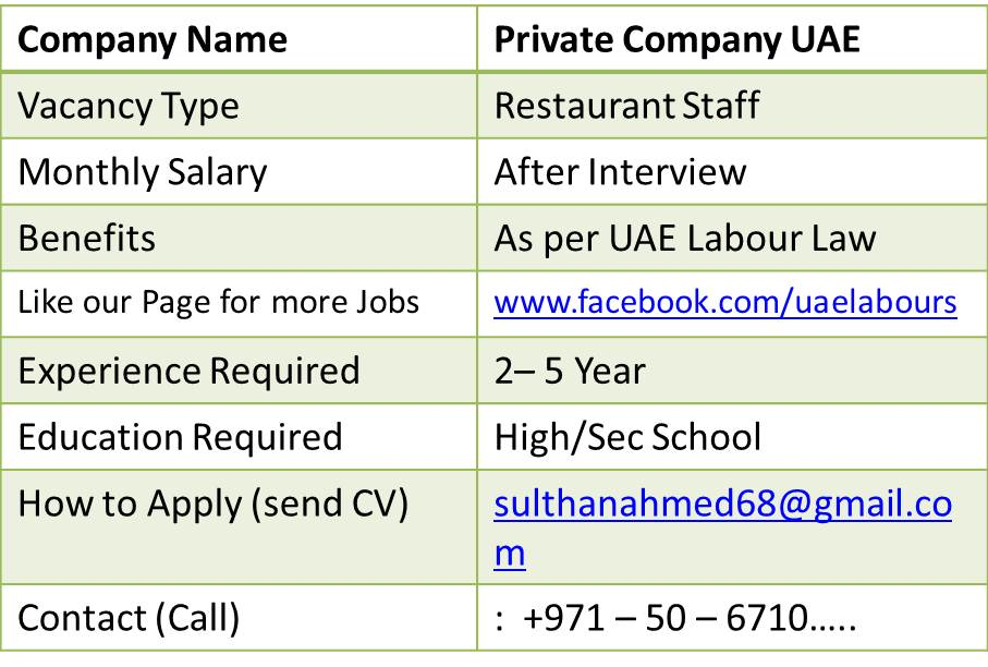waitress jobs in dubai
