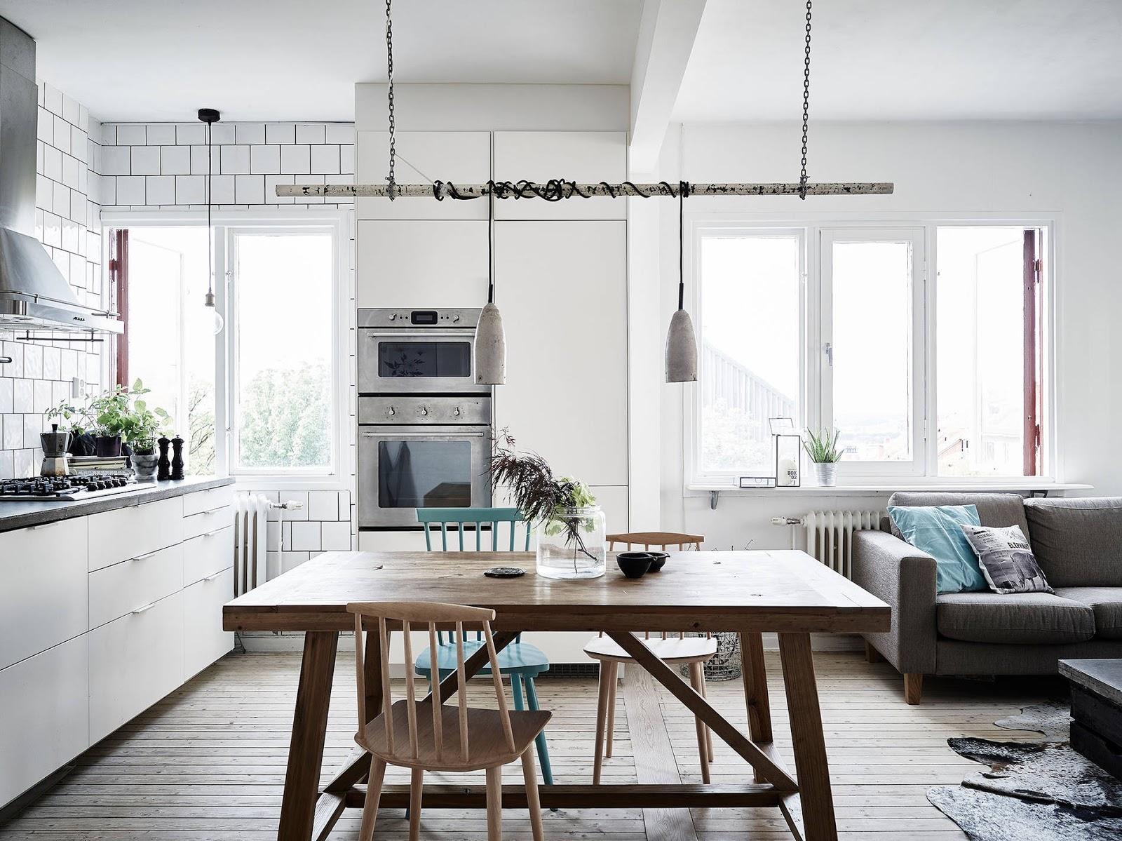 turkusowe krzesło, miętowe krzesło, skandynawska kuchnia