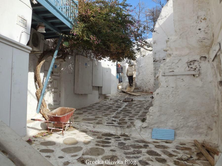 grecka uliczka zimą Mykonos