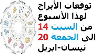 توقعات الأبراج لهذا الأسبوع من السبت 14 الى الجمعة 20 نيسان-ابريل 2018