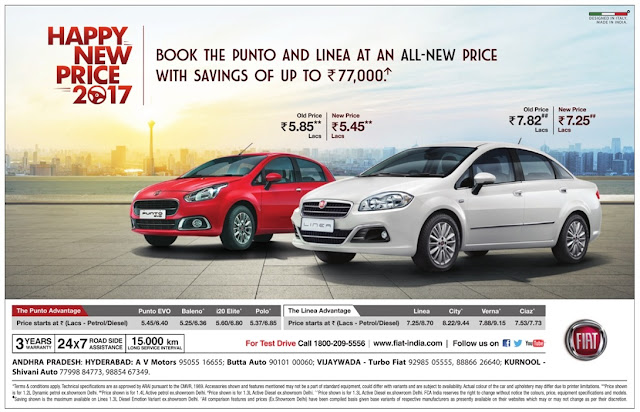 Book Fiat Punto & Linea with savings up to Rs 77,000  | January 2016 sankaranthi festival discount sale