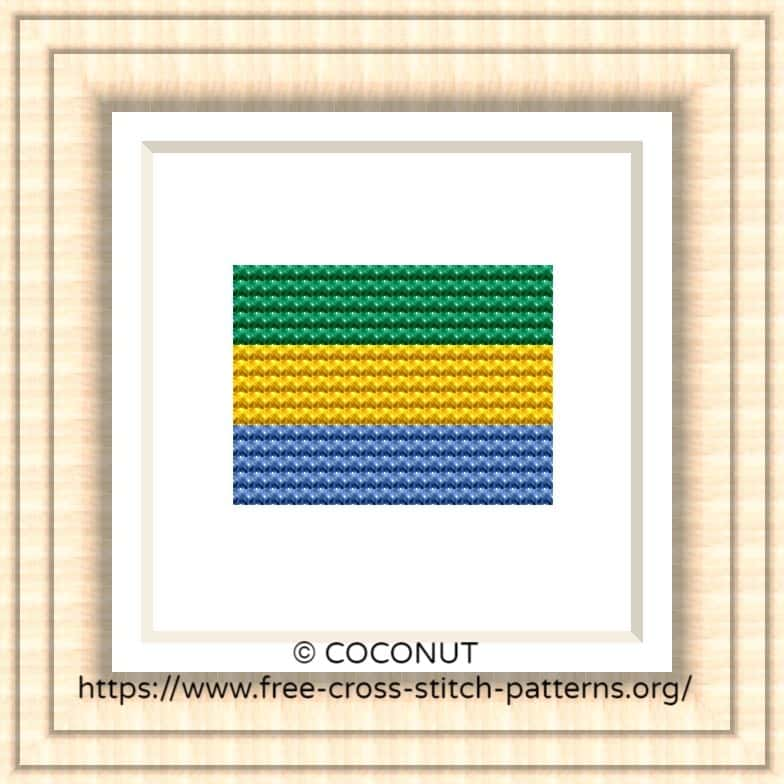 NATIONAL FLAG OF GABON CROSS STITCH CHART