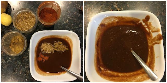 Garnishing the tamarind & dates chutney for dabeli recipe.