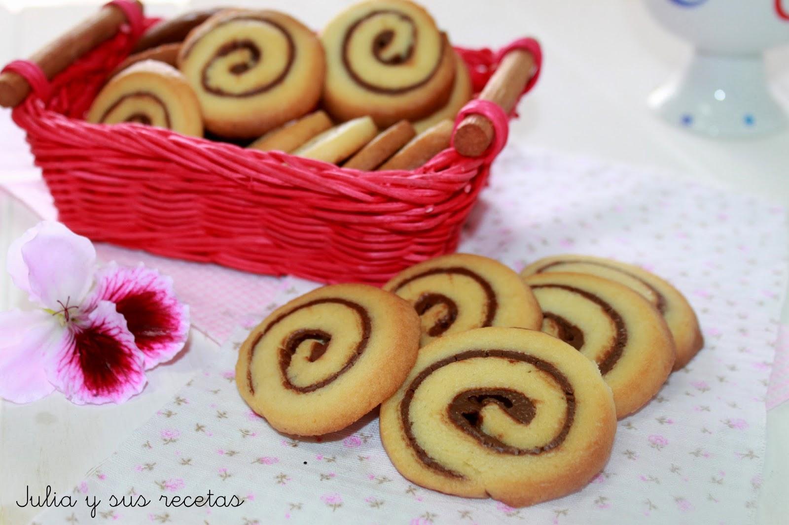 Galletas en espiral de nutella. Julia y sus recetas