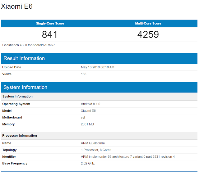 Spesifikasi Smartphone Xiaomi E6, Hp Terbaru dari Xiaomi