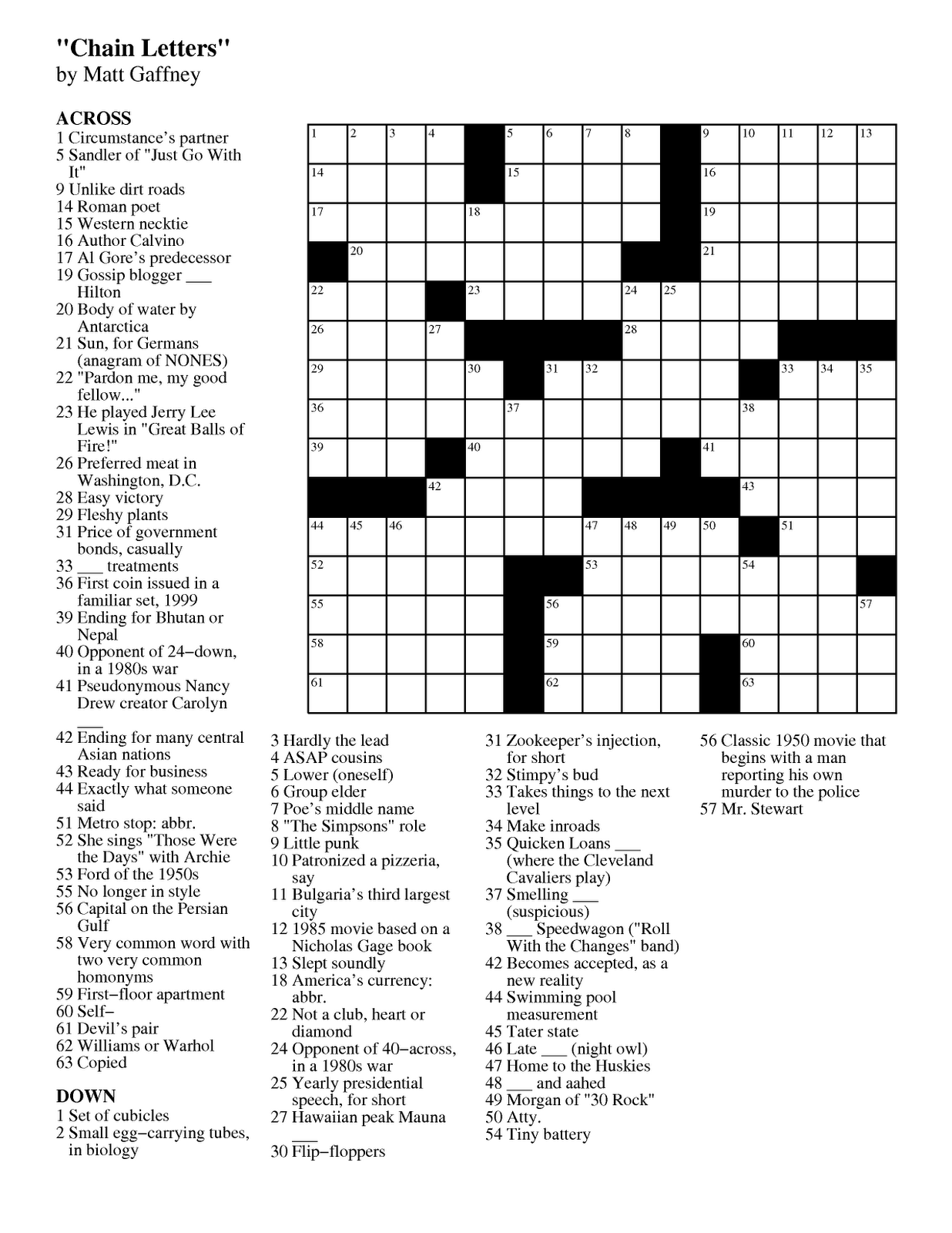 Matt Gaffney S Weekly Crossword Contest Mgwcc 201 Friday April 6th Chain Letters