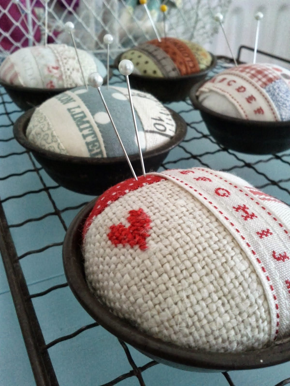 Vintage Pie Tin Pin Cushion