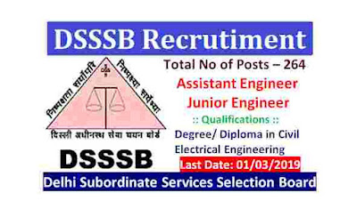 Govt Jobs in Delhi – DSSSB Recruitment 2019