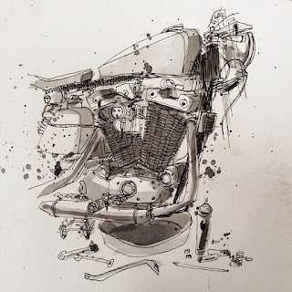 Ironhead Sportster Chopper Motor Sketch