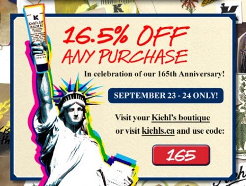 Kiehls 16.5% Off Anniversary Sale Promo Code