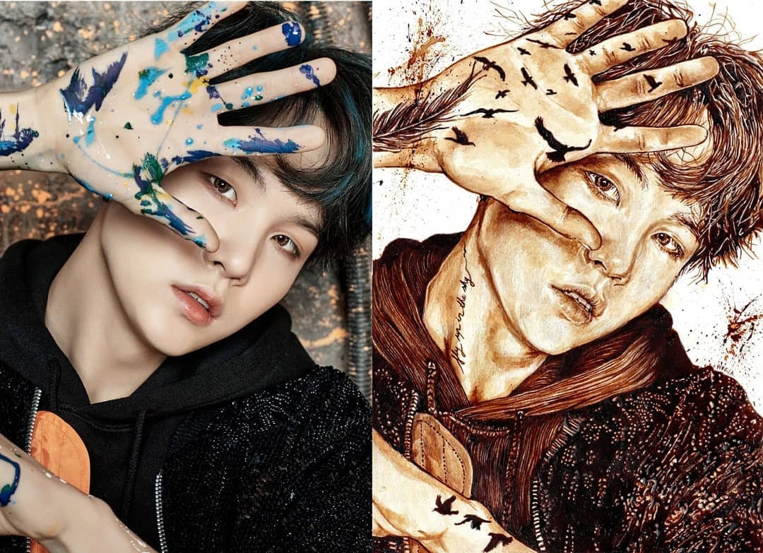 02-Suga-from-BTS-Nuria-Salcedo-Detailed-Portrait-Paintings-Using-Coffee-www-designstack-co