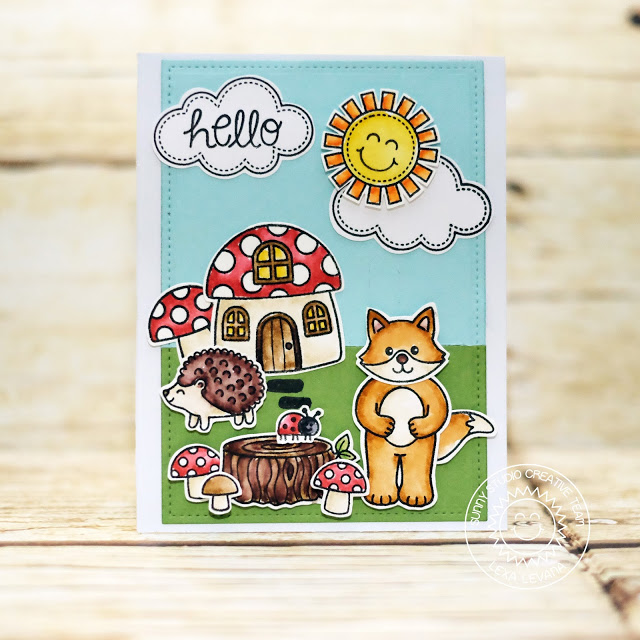 Sunny Studio Stamps: Woodsy Creatures and Backyard Bugs Sunshine Card by Lexa Levana