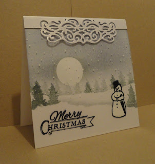 Christmas card - landscape with  snowman and greeting on acetate layer