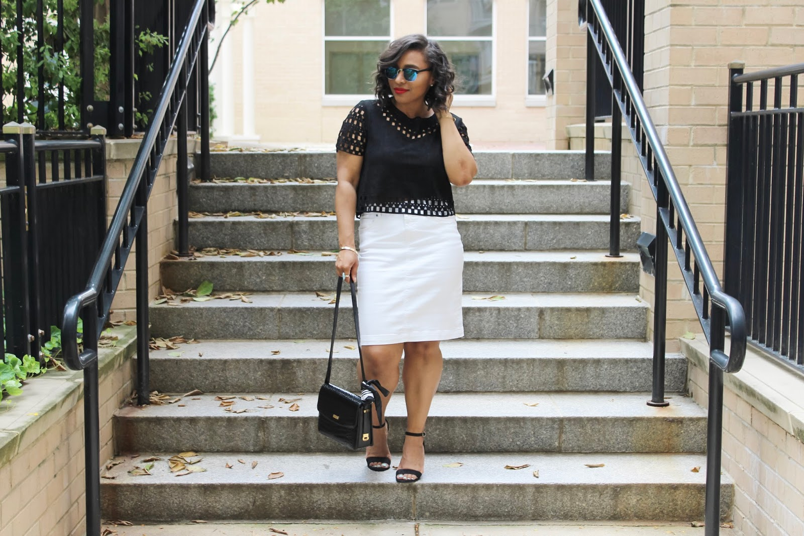 Who Doesn't Look Good in Black And White, laser cut top, black and white looks, red lipstick, blue mirrored sunglasses, white denim skirt, saraboo clothing, le bong purses, summer looks, black laser cut top