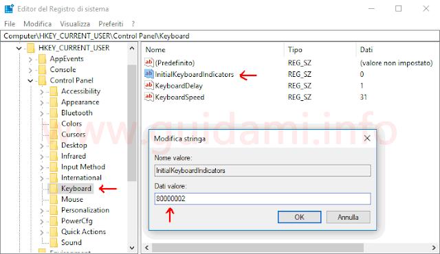 Windows 10 Registro di sistema modifica valore stringa Bloc Num