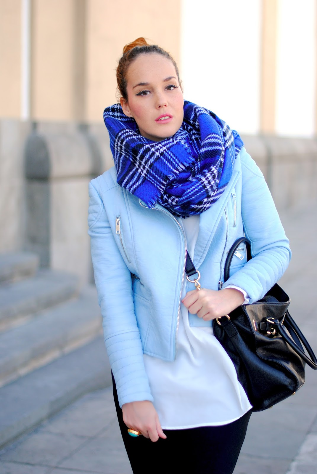 Nery hdez, tartan scarf, primark, michael kors, baby blue, biker azul