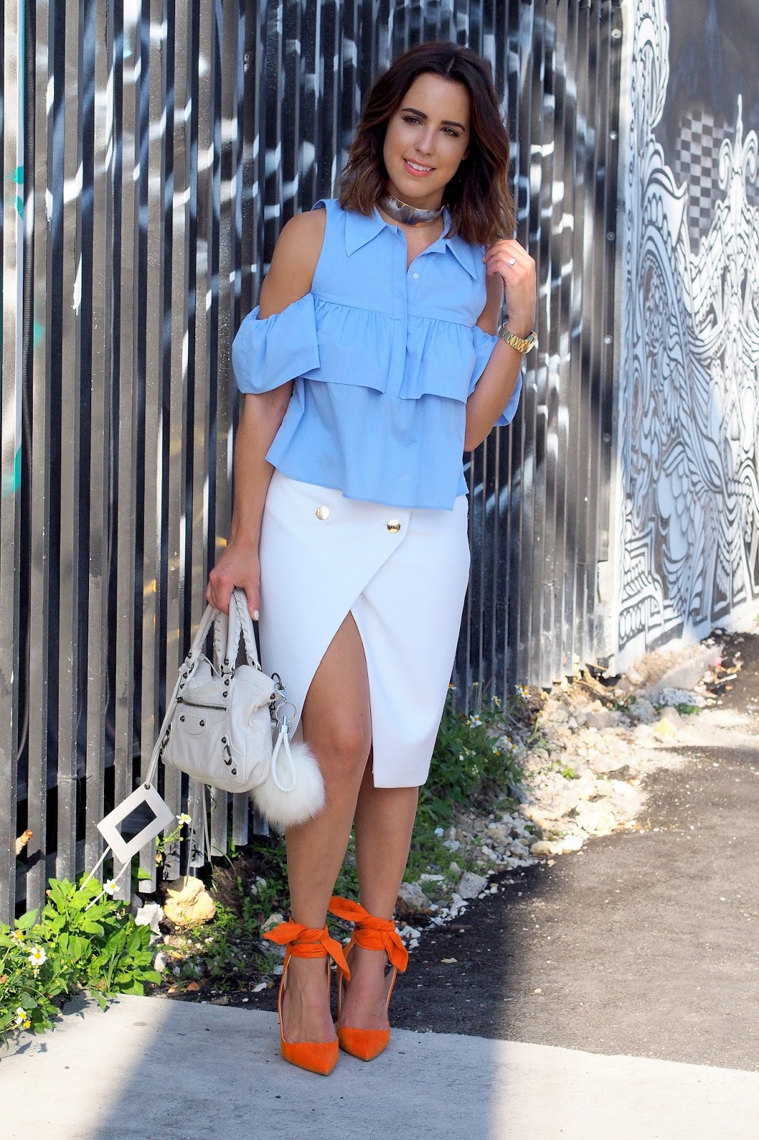 miami-fashion-blogger-kelly-saks-zara-shoulder-blouse-orange-wrap-pumps