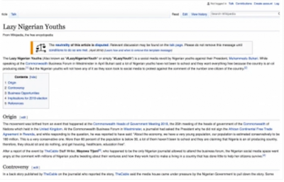 Surprise as Lazy Nigerian Youths Wikipedia Page Suddenly Appears (Photo)