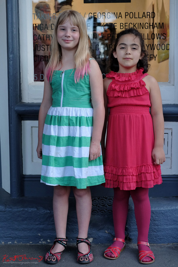 Cool Kids Christmas fashion, red dress and green dress with white stripes. A-M Gallery Newtown.