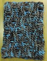 Cuello lana color mezcla azul y gris con nueva técnica de tejer