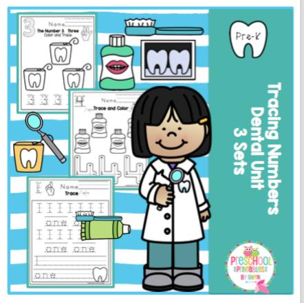 Dental Unit - Tracing Numbers 1-10- 3 different sets ~ Preschool ...