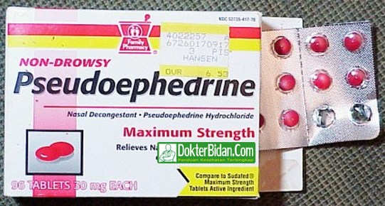 Pseudoephedrine - Dosis, Efek Samping dan Khasiat Untuk Hidung Tersumbat