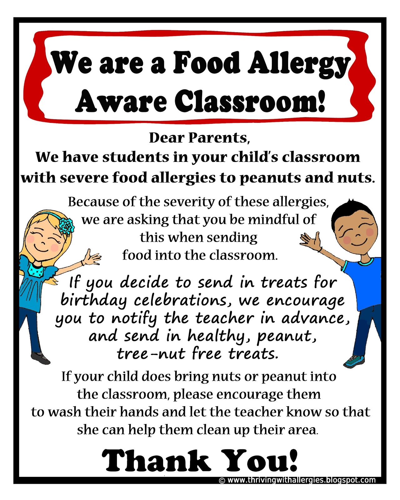 Thriving With Allergies Food Allergy Aware Letter to Parents