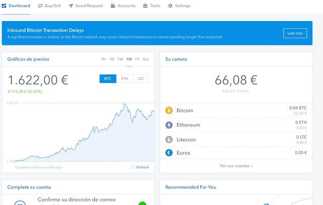 Dashboard de Coinbase