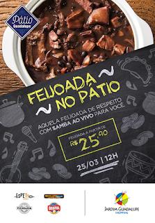 Shopping Jardim Guadalupe promove 'Feijoada no Pátio' neste domingo