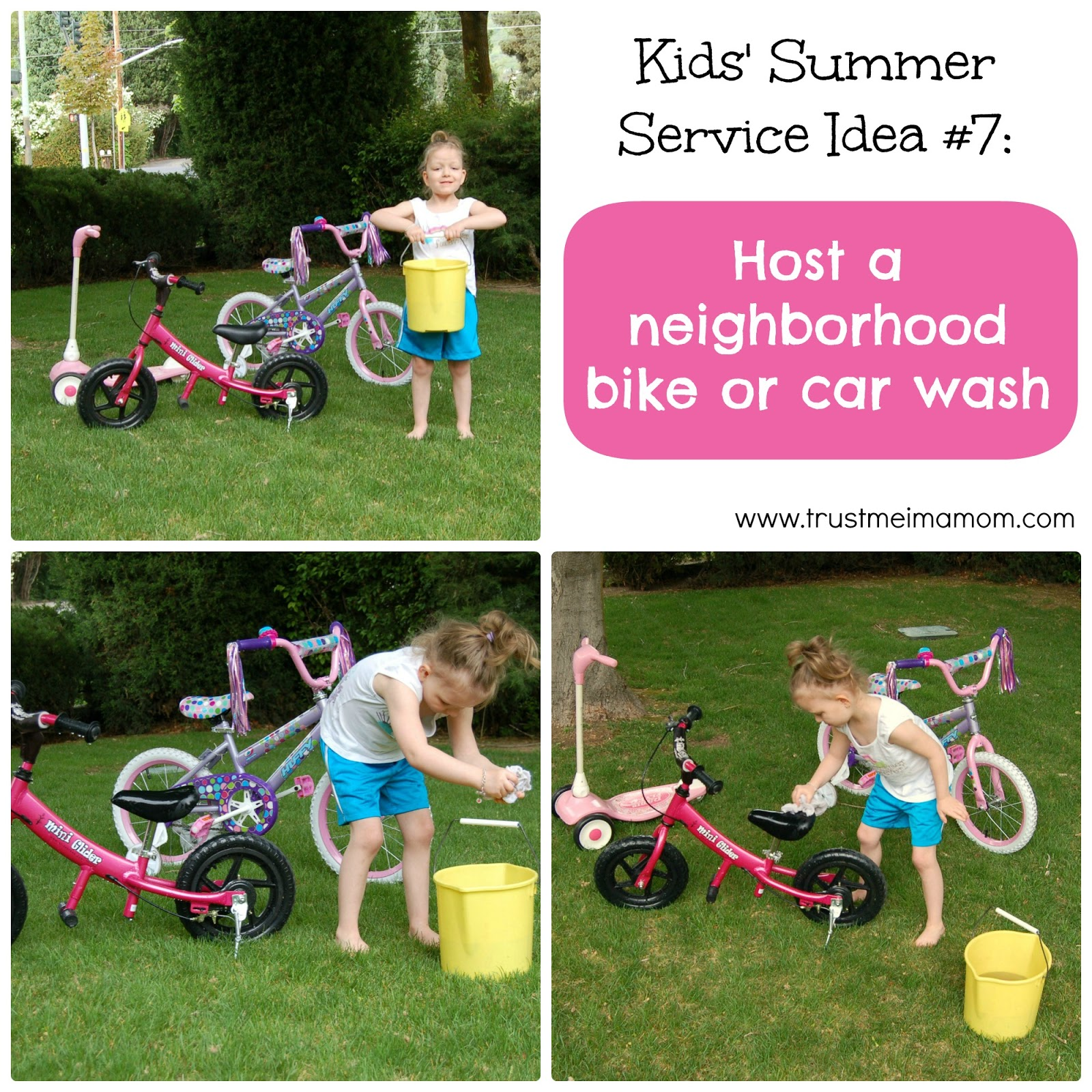 Fun Ways to Serve with Your Kids This Summer: Idea #7 - Host a neighborhood carwash or bike wash... fun!