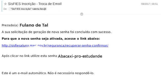 E-mail para recuperação de acesso ao portal sisfies