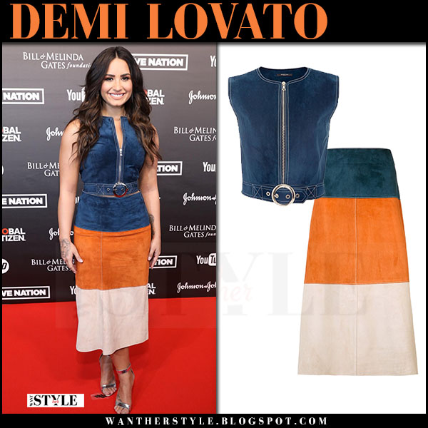 Demi Lovato in navy blue suede top and striped suede midi skirt at Global Citizen Festival what she wore july 6 2017 red carpet look