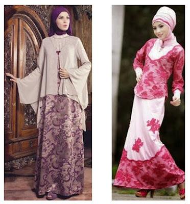 Model Trend Busana Muslimah Batik Kombinasi Brokat
