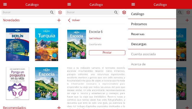 Capturas de pantalla de la aplicación para móvil de eBiblio.