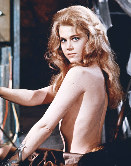 Jane Fonda topless side pose in Barbarella 1968